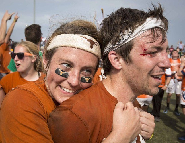 University of Texas' players embrace after winning the Quidditch World Cup VI against UCLA in Kissimmee, Florida