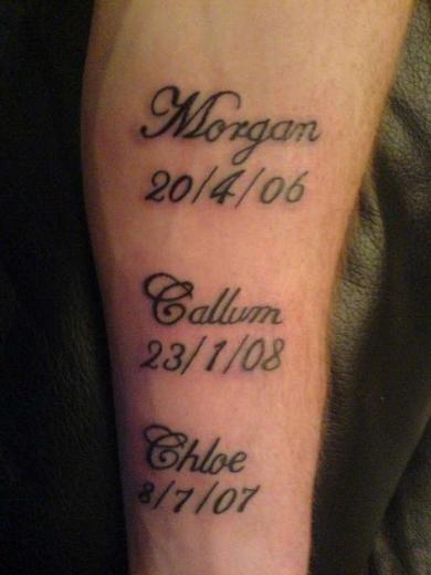 татуировка имена детей